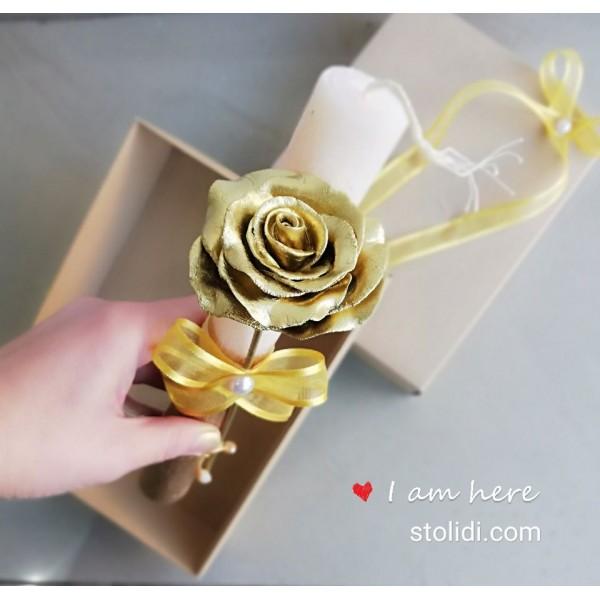 Λαμπάδα με χρυσό τριαντάφυλλο