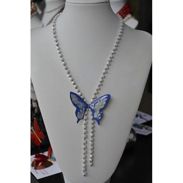 Γραβάτα με πεταλούδα σε άσπρο - μπλε