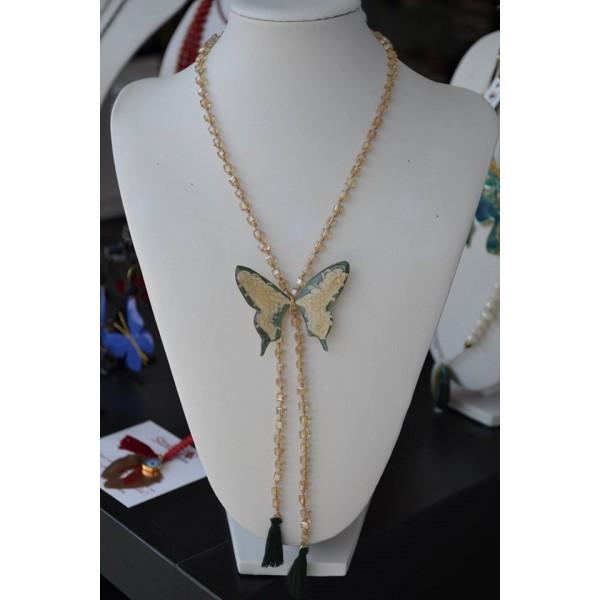 Γραβάτα με πεταλούδα σε πράσινο - χρυσό