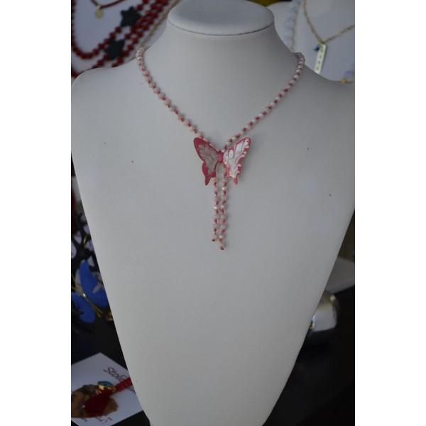 Γραβάτα με πεταλούδα σε λευκό-ροζ