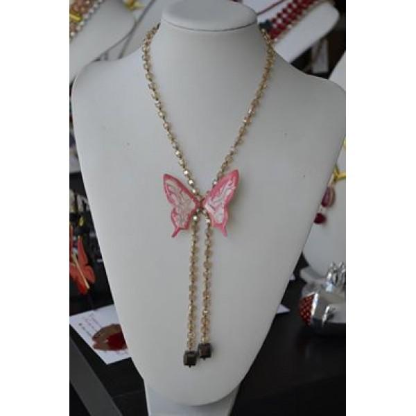 Γραβάτα με πεταλούδα σε ροζ- λευκό