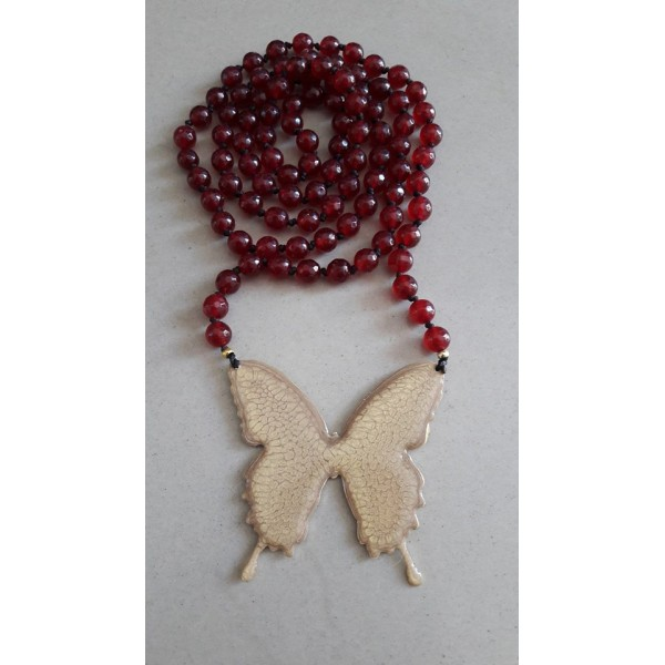 Red agate and butterfly