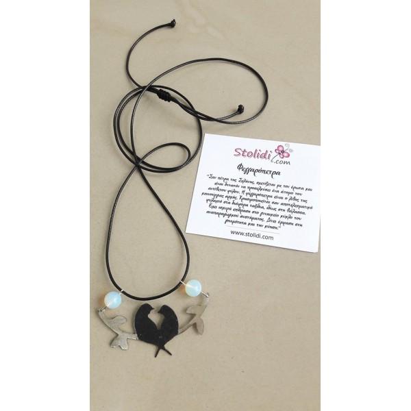 Moonstone pendant with birds