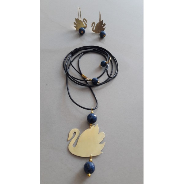 Necklace and earrings swan