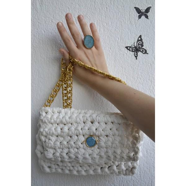 Τσάντα πλεκτή με δαχτυλίδι